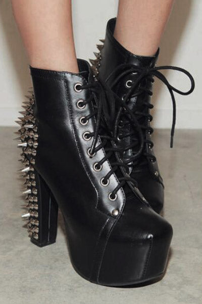 Venom Spiked Lace Up Platform Booties
