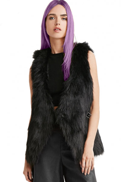 Black Cat Vegan Fur Vest