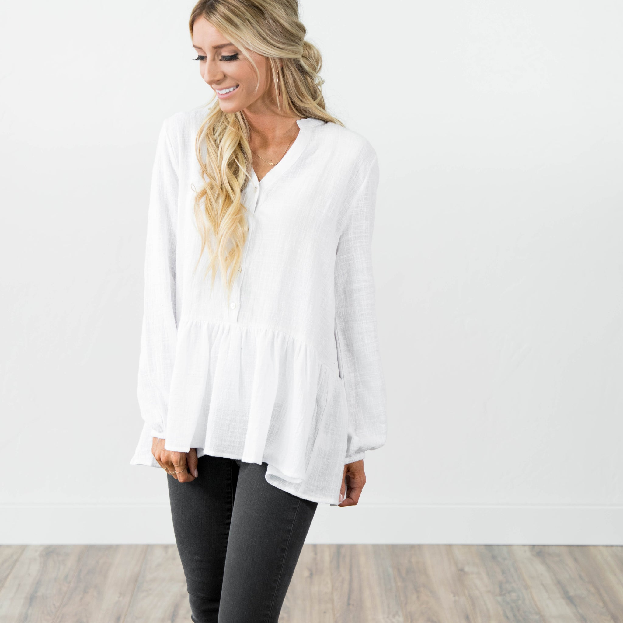 Rowan Peplum Button Up in Ivory