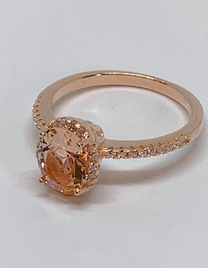 Morganite Engagement Oval Ring