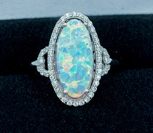 Large White Opal Statement Ring