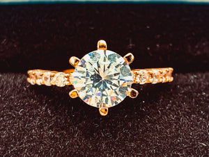 Round Engagement Ring Wedding Set