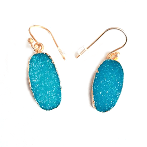 Aqua Blue Druzy Earrings