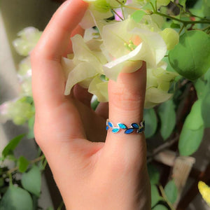Blue Opal Leaf Ring