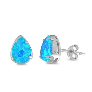 Blue Opal Teardrop Sterling Silver Earrings