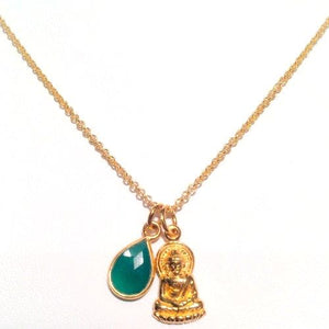 Gold Buddha Necklace with Green Agate