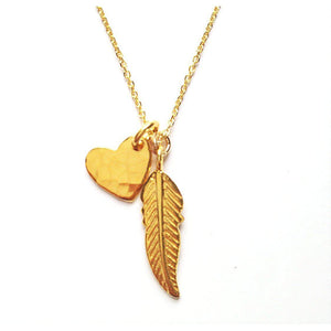 Gold Heart & Feather Necklace