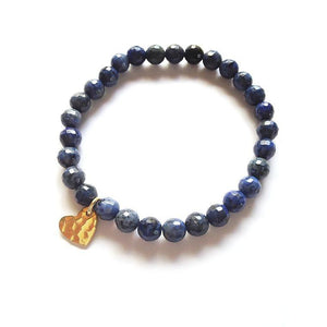 Gold Heart & Blue Quartz Gemstone Stretch Bracelet