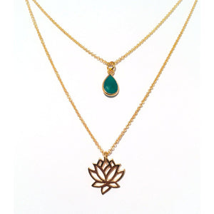 Gold Lotus Charm Necklace with Green Agate Gemstone