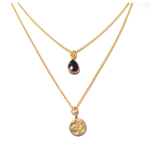 Gold Om Charm Necklace with Black Onyx Gemstone