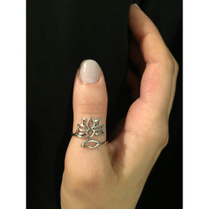 Sterling Silver Adjustable Lotus Ring