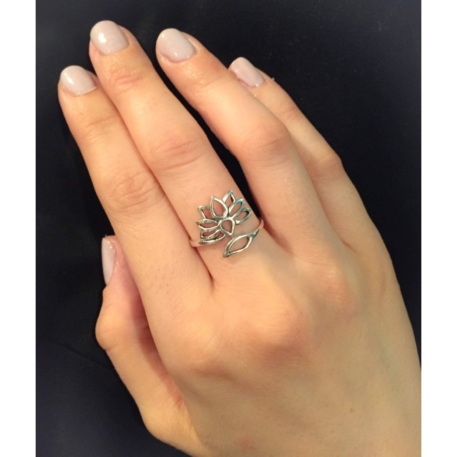 10505527f075f Sterling Silver Adjustable Lotus Ring