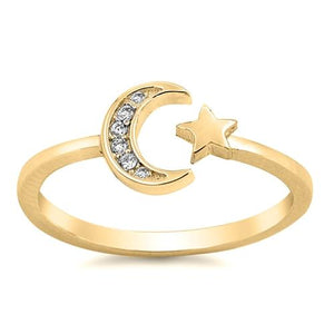 Moon & Star Ring - Yellow Gold with CZ's