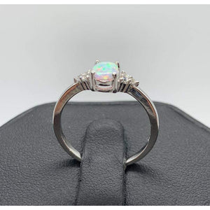 White Opal Promise Ring