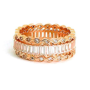 Rose Gold Art Deco Eternity Stacking Rings