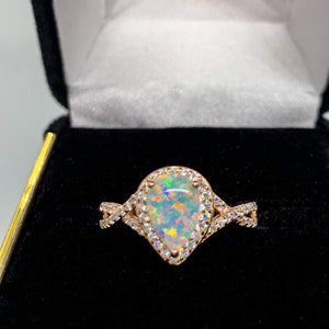 Rose Gold Opal Teardrop Promise Ring
