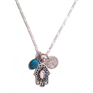 Silver Hamsa Necklace, Lotus Flower and Turquoise, Hand Of God6,Necklace