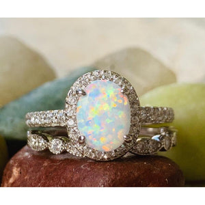 White Opal Engagement Ring & Band