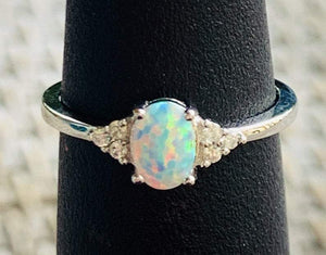 White Opal Promise Ring | White Opal Engagement Ring