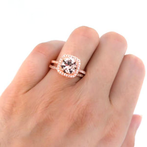 Rose Gold Morganite Ring - 2 Carat Engagement Ring