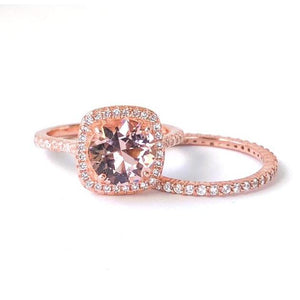 Rose Gold Morganite Ring-2 Carat Engagement Ring-Rose Gold Engagement Ring