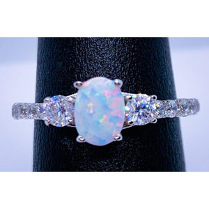 White Opal Petite Engagement Ring