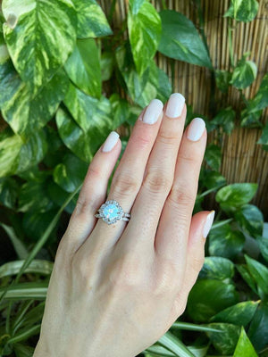 White Fire Opal Engagement Wedding Set