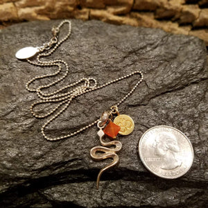 Sterling Silver Snake Charm Necklace with Gold Om Symbol