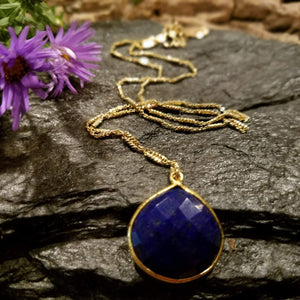 Lapis Lazuli Gemstone Necklace, Bezeled lapis teardrop
