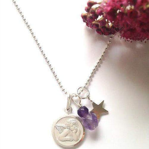 Angel Necklace with Amethyst Gemstone & Star