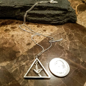 Triangle Necklace with Bird Charm-Silver Bird Necklace-Sterling Silver Triangle