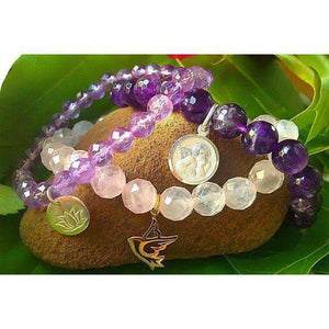 Rose Quartz Beaded Bracelet with Gold Dove Charm
