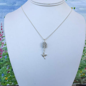 You are Free to Fly - Sparkly Silver Druzy Necklace