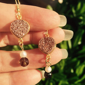 Smoky Quartz Earrings with Sparkling Druzys