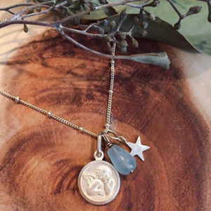 Silver Angel Necklace with Aquamarine & Star