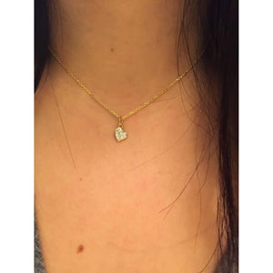 Small Diamond  Heart Necklace-Layering Necklace