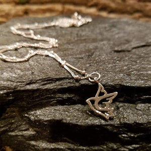 Sterling Silver Dove Bird Charm Necklace