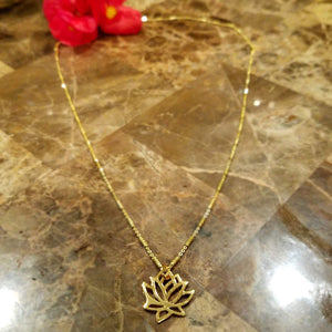 18K Gold Lotus Necklace over Sterling Silver