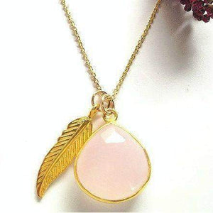 Rose Quartz Necklace-Gold Feather necklace,Teardrop Necklace