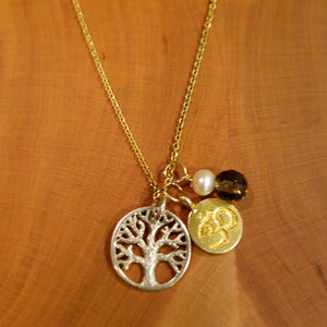 Tree of Life Necklace-Gold Om Necklace,pearl drop Necklace