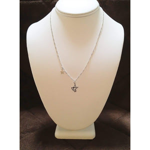 Sterling Silver Dove & Star Charm Necklace