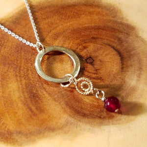 Eternity Sterling Silver Circle Necklace with Garnet