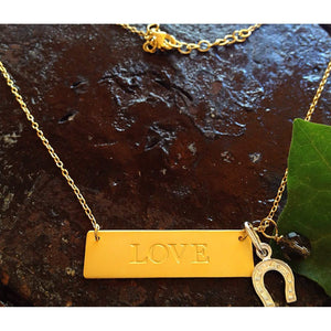 Gold Love Plaque Necklace with Lucky Horseshoe