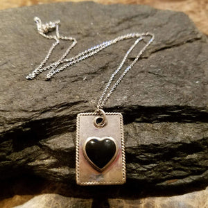 Sterling Silver Dog Tag Necklace with Black Heart