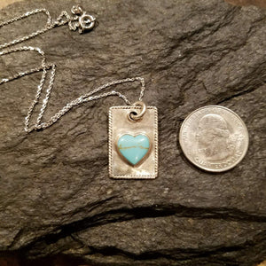 Sterling Silver Turquoise Heart and Dog Tag Necklace