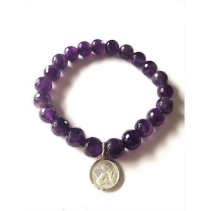 Genuine Amethyst Bracelet with silver Angel charm