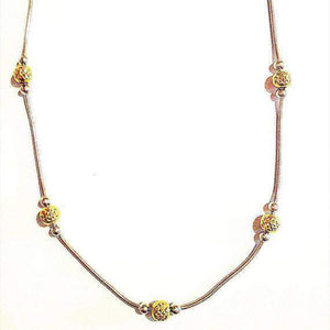 Sterling Silver & Gold Ball Necklace-Layering Necklace