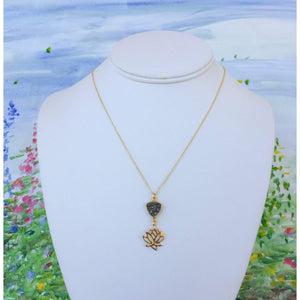 Gold Lotus Necklace and Sparkling Silver Druzy