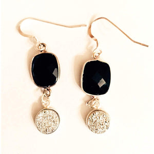 Sterling silver Black Onyx Earrings with druzys