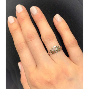 Sterling Silver Lotus Silhouette Ring